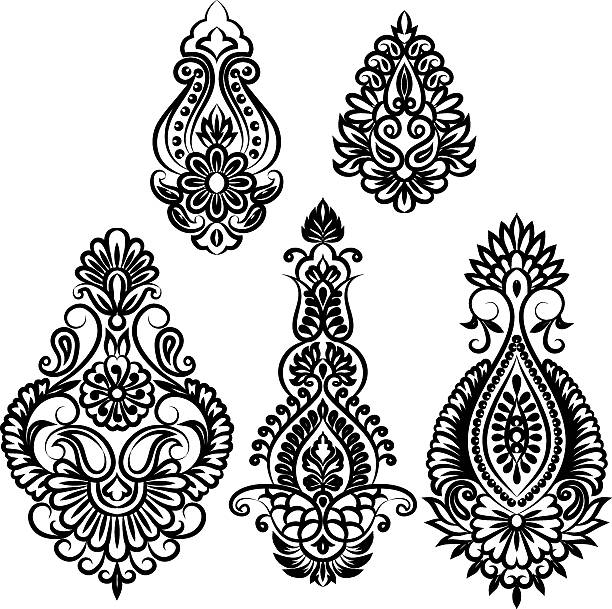 indian flowers - tribal tattoos stock illustrations, clip art, cartoons, & icons