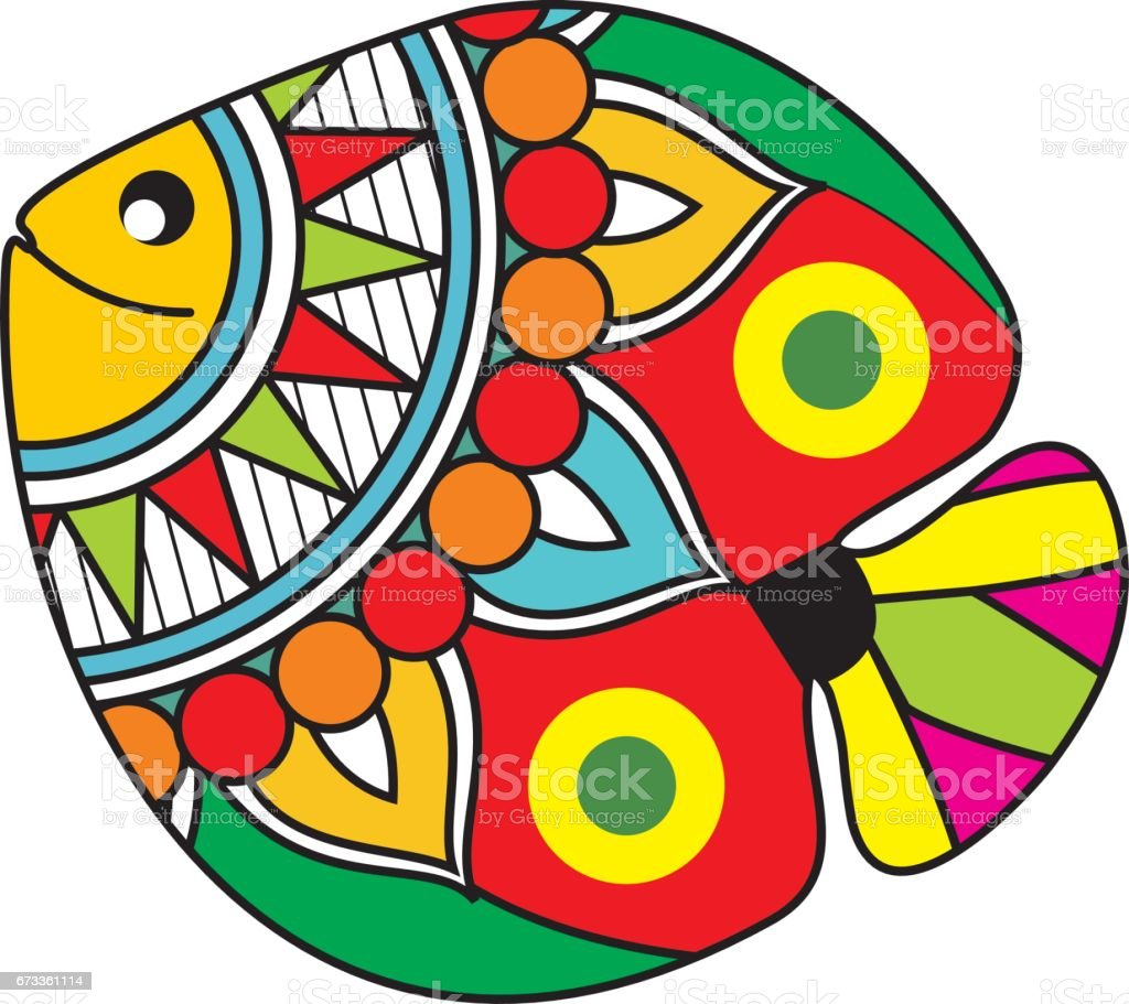 Indian Folk Painting Madhubani Painting Of A Fish Stock Vector Art ...