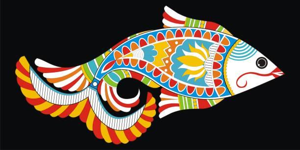 illustrations, cliparts, dessins animés et icônes de indian folk peinture - ornement peinture de madhubani d'un poisson - pisces zodiac