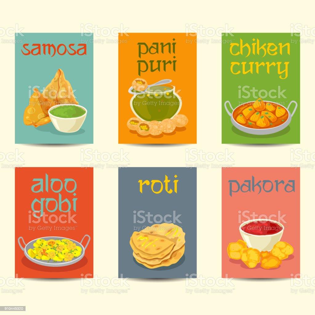 Bannières de la nourriture indienne, cartes, affiches ensemble couleurs vintage - Illustration vectorielle