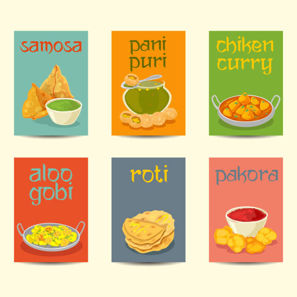indian food banners, cards, posters set ,vintage colors - indian food stock illustrations, clip art, cartoons, & icons