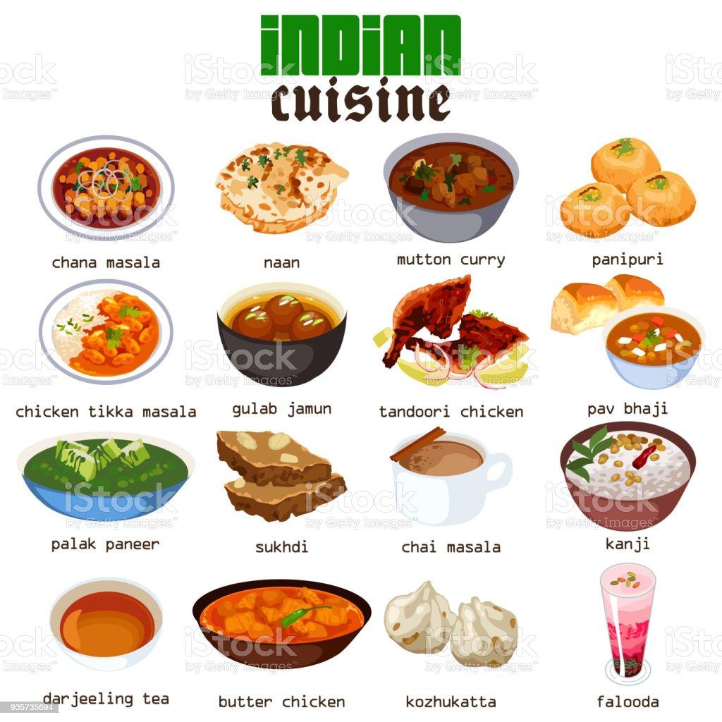 Cuisine indienne Cuisine Illustration - Illustration vectorielle