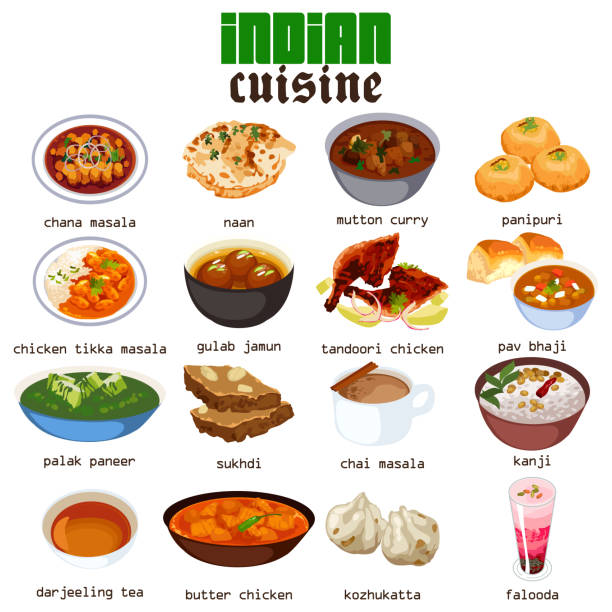 indian food cuisine illustration - indian food stock illustrations, clip art, cartoons, & icons