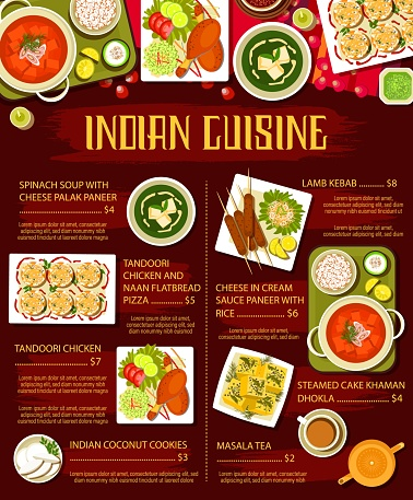 Indian food dishes with meat and vegetables menu