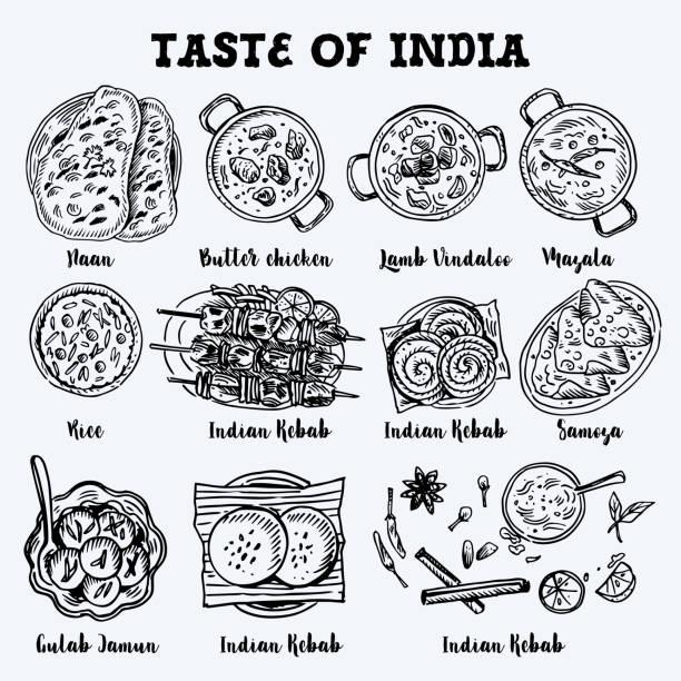 インド料理を描画します。線形のグラフィック。ベクトルの図。刻まれたスタイル。 - カレー点のイラスト素材/クリップアート素材/マンガ素材/アイコン素材