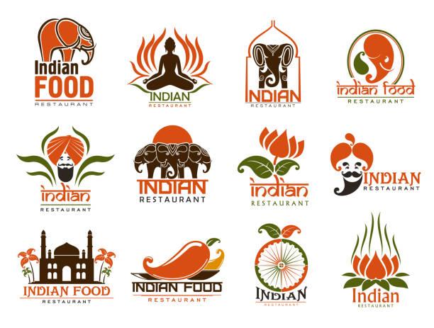 ilustraciones, imágenes clip art, dibujos animados e iconos de stock de iconos de la comida india, elefantes, loto, chile - comida india