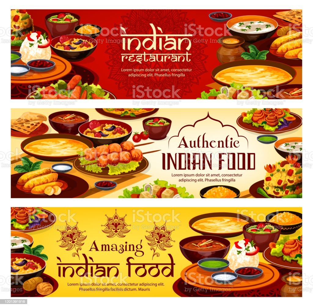 Indian Food Menu Authentic India Restaurant Dish Stock Illustration Download Image Now Istock