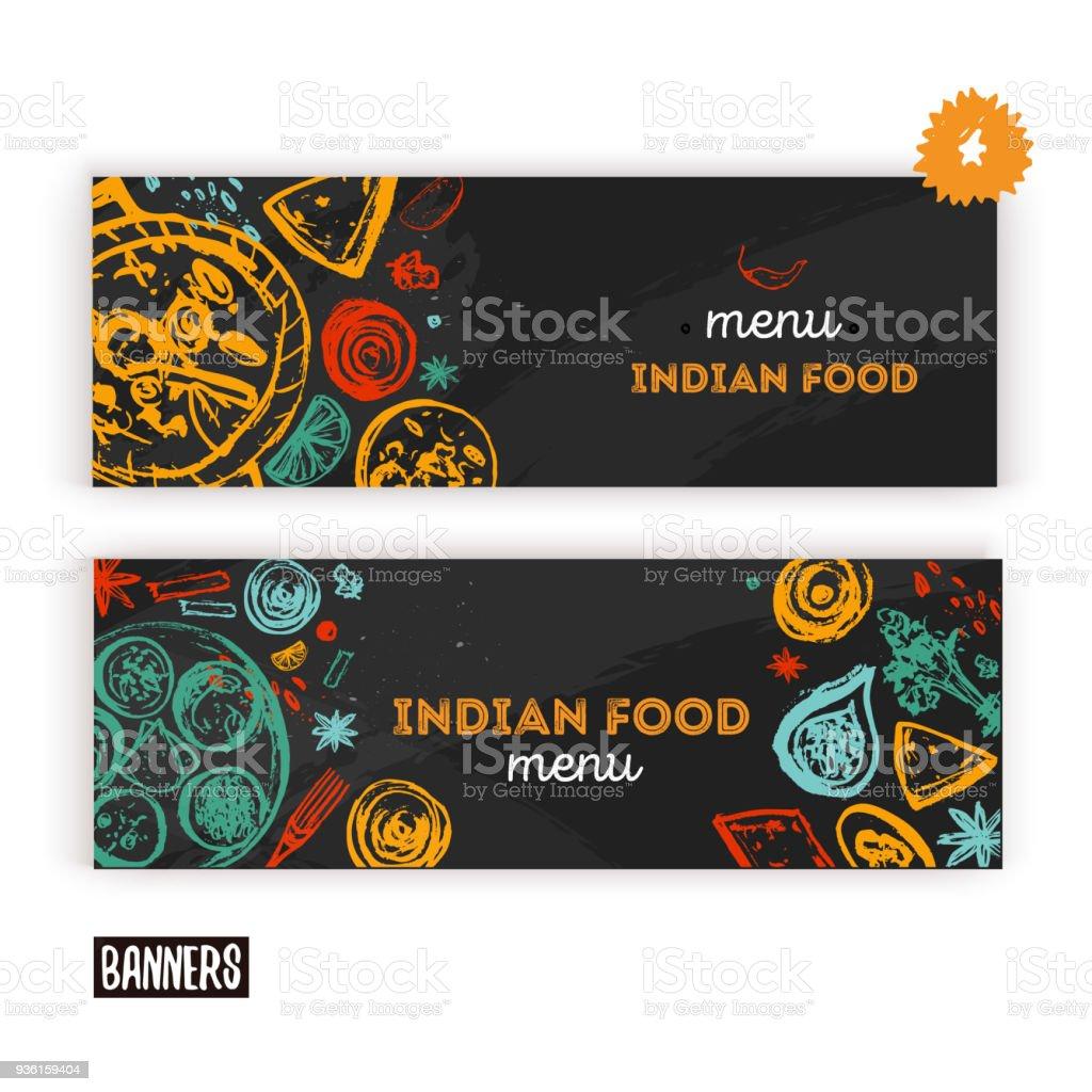 Indian Food menu background with lettering. Modern Sketch Flyer for cafe.