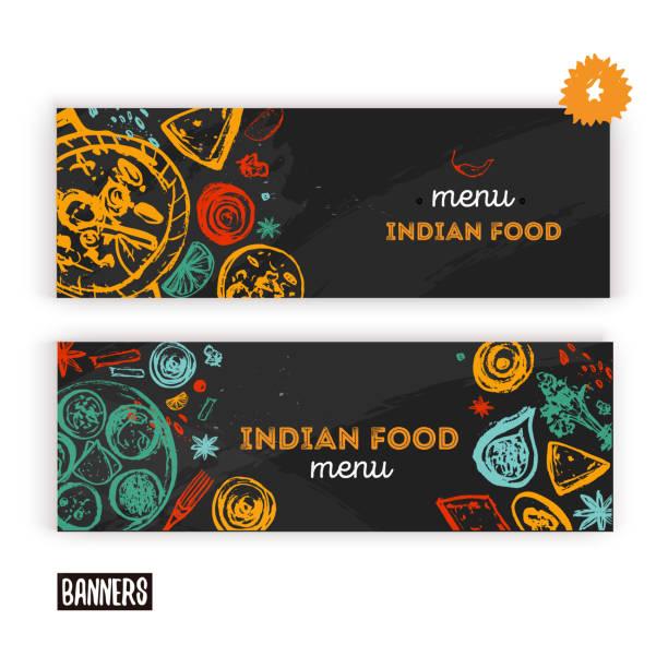 ilustraciones, imágenes clip art, dibujos animados e iconos de stock de fondo del menú de la comida india con letras. flyer de bosquejo moderno para café. - comida india