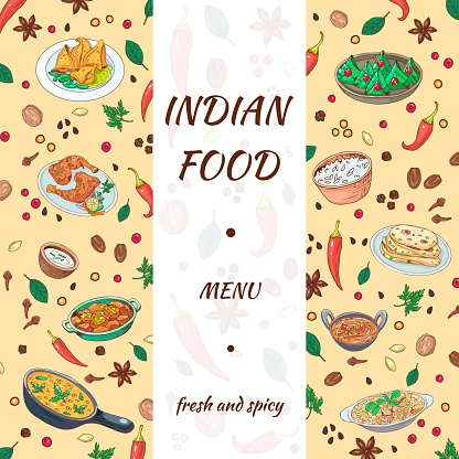 Indian food menu hand drawn design. Asian cuisine graphics with delicious background. Sketch vegetables, spices and dishes for cafe os restaurant banner. Vector illustration.
