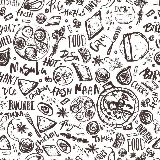 ilustraciones, imágenes clip art, dibujos animados e iconos de stock de comida de la india transparente de fondo con letras. menú asiático dibujo moderno - comida india