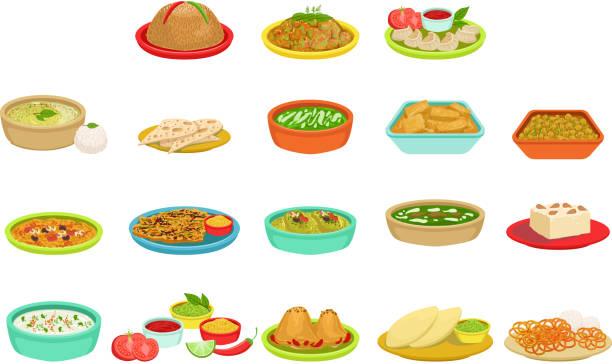 ilustraciones, imágenes clip art, dibujos animados e iconos de stock de conjunto de ilustración de platos de la firma de alimentos de la india - comida india