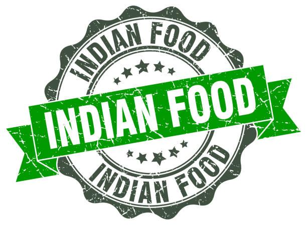 インドのフード スタンプ。署名します。シール - インド料理点のイラスト素材/クリップアート素材/マンガ素材/アイコン素材