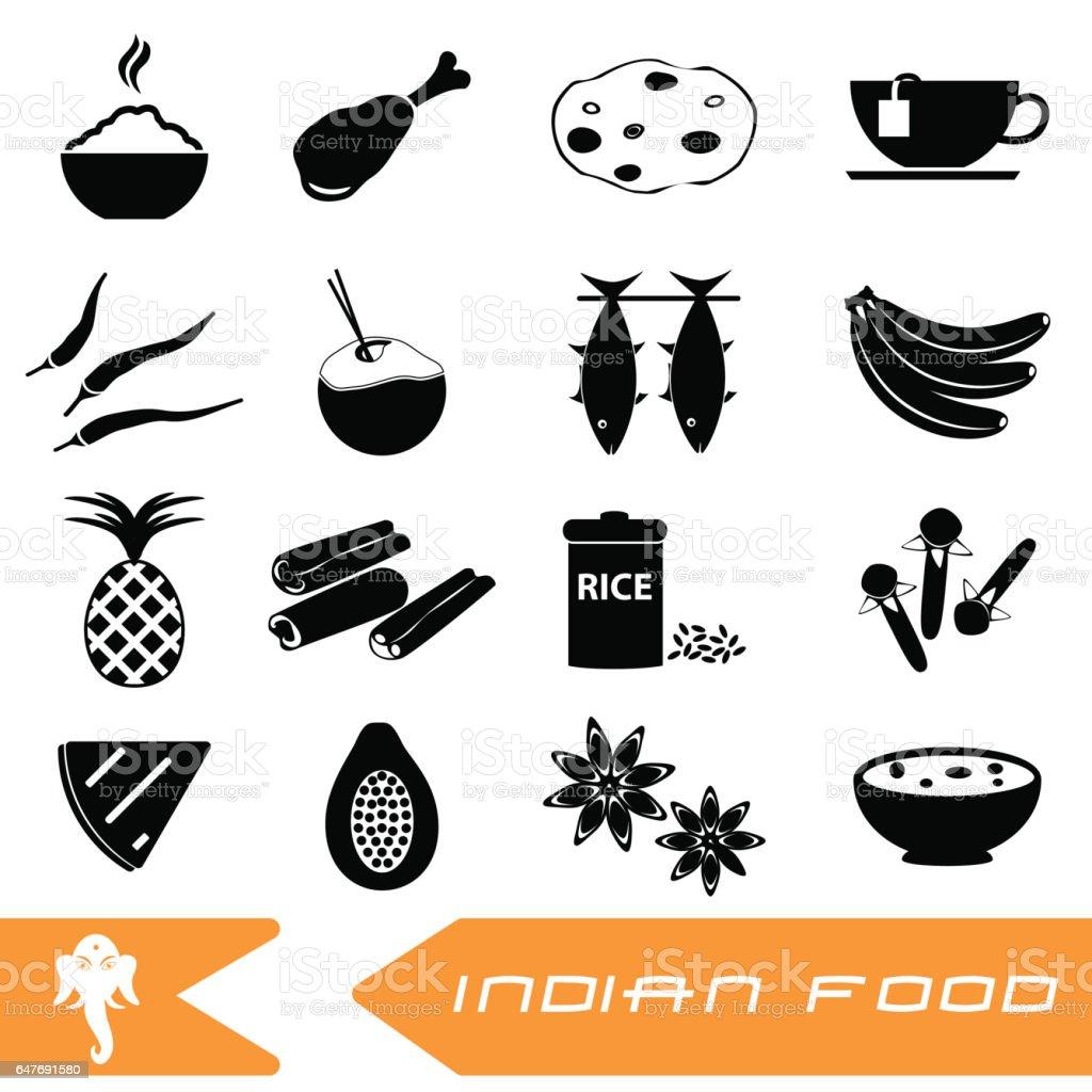 thème de la nourriture indienne ensemble d'icônes simples rouge transparente motif eps10 - Illustration vectorielle