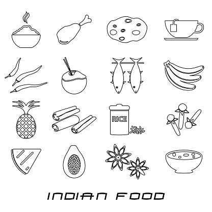 indian food theme set of simple outline icons eps10