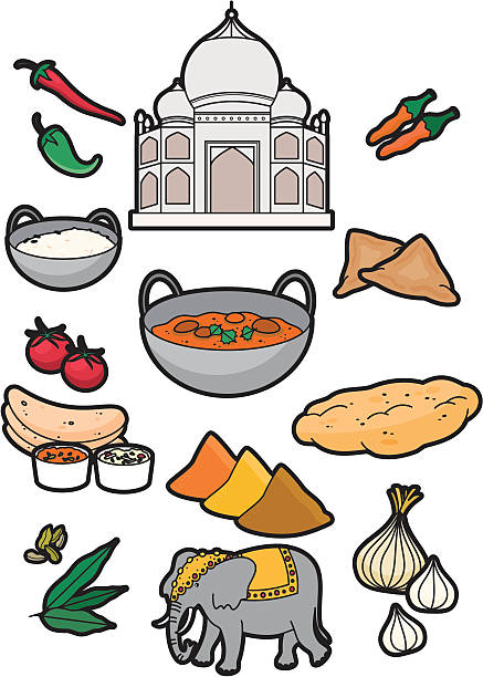 Indian food A selection of indian food ideal for restaurant menus. Click below for more food and drink images balti dish stock illustrations