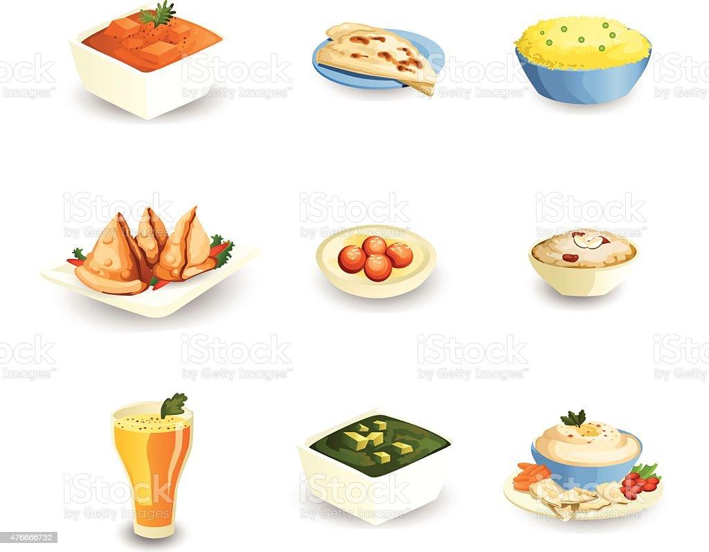 Indian Food vector art illustration
