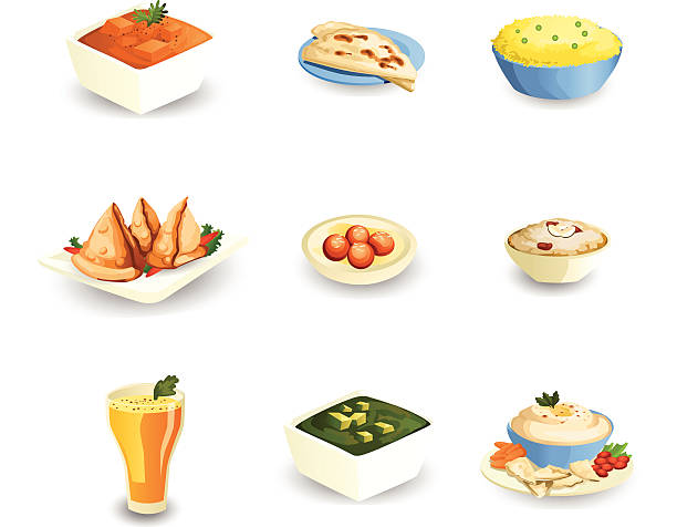 indian food - indian food stock illustrations, clip art, cartoons, & icons
