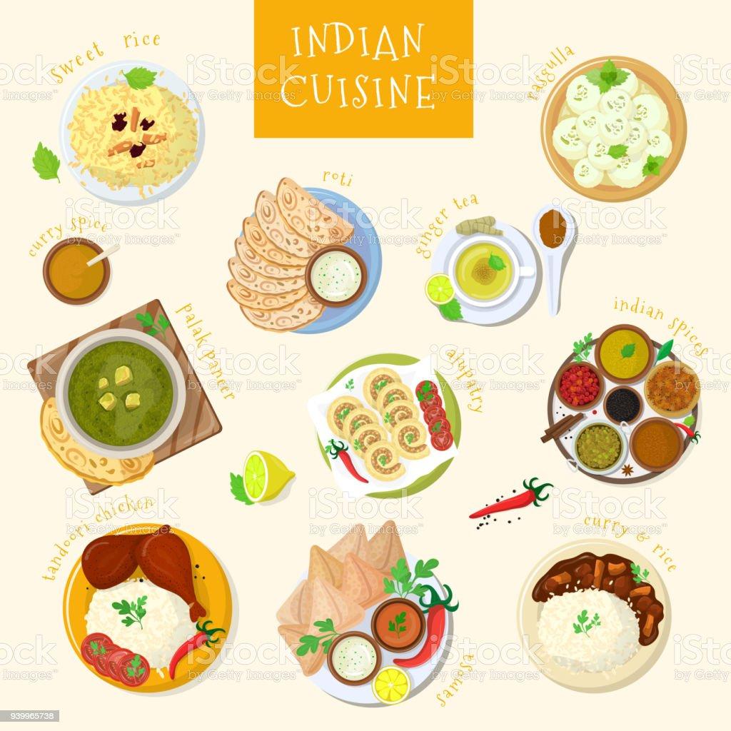 Vecteur de cuisine indienne cuisine Inde et plats asiatiques masala avec riz épicé et poulet tandoori illustration de naan repas Asie dans bol isolé sur fond blanc - Illustration vectorielle