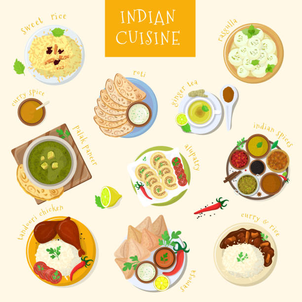 indian food vector india cuisine and asian dishes masala with spicy rice and tandoori chicken illustration set of asia meal naan in bowl isolated on white background - indian food stock illustrations, clip art, cartoons, & icons