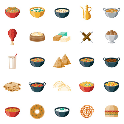 Indian Foods Icon Set