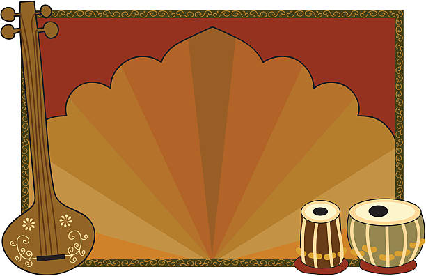 Indian Frame (Vector) An empty frame with North Indian musical instruments (tanpura and tabla). (Includes .jpg) tavla stock illustrations