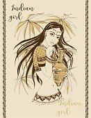 Indian girl. Beautiful with a jug. National color. Stylish graphics. Vintage card. Vector