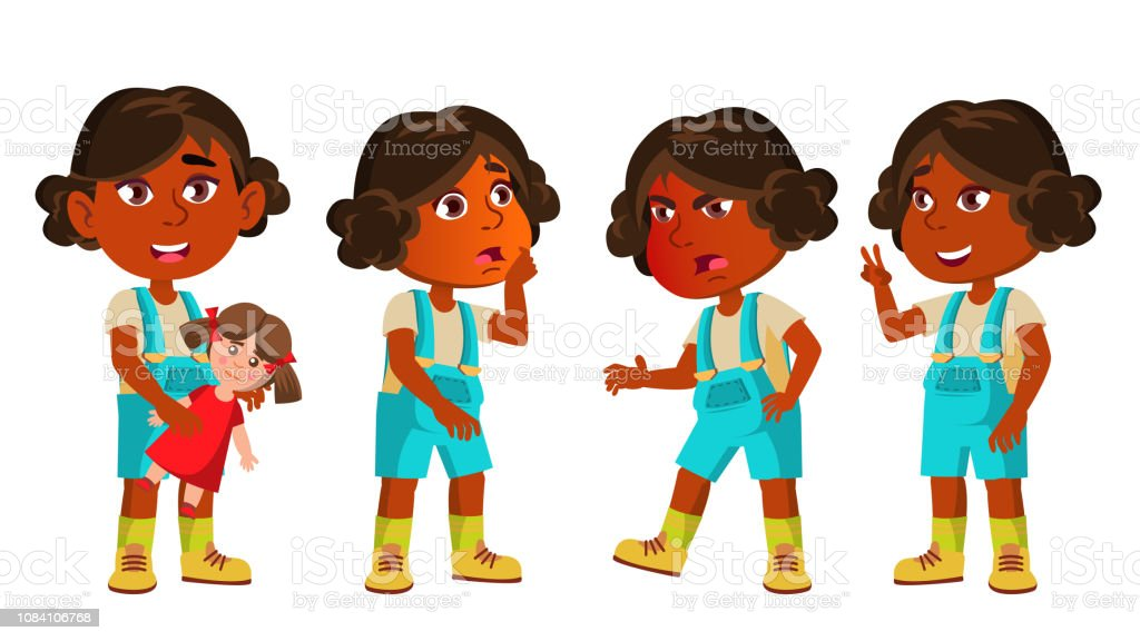 Indian Girl Kindergarten Kid Poses Set Vector Hindu Asian