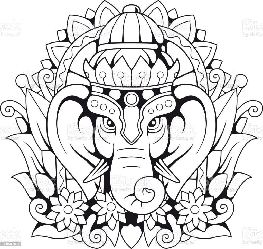 Ilustración de Elefante Del Dios Hindú Ganesha y más banco de ...