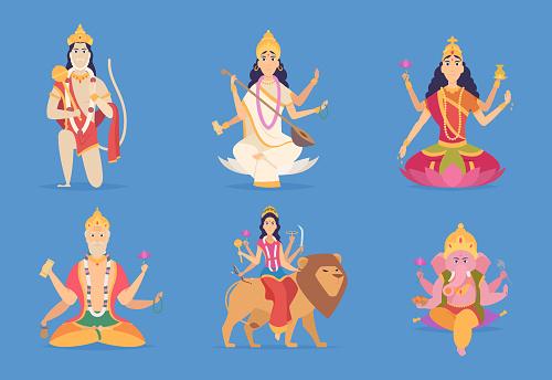 Indian god. Ganesha vishnu lakshmi and saraswati characters vector fantasy mascot