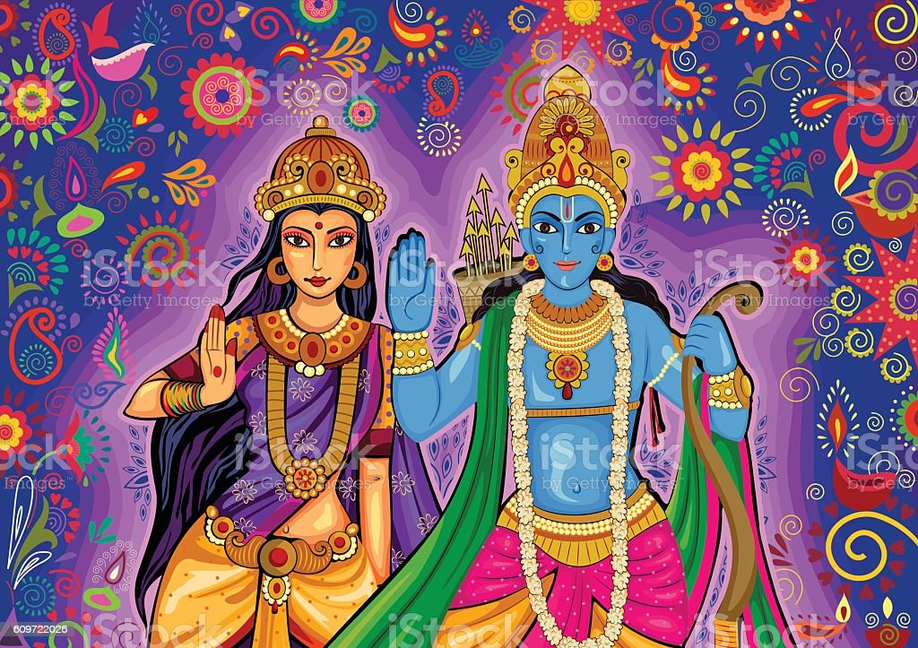 Indian God Rama and Sita for Dussehra festival celebration in vector art illustration