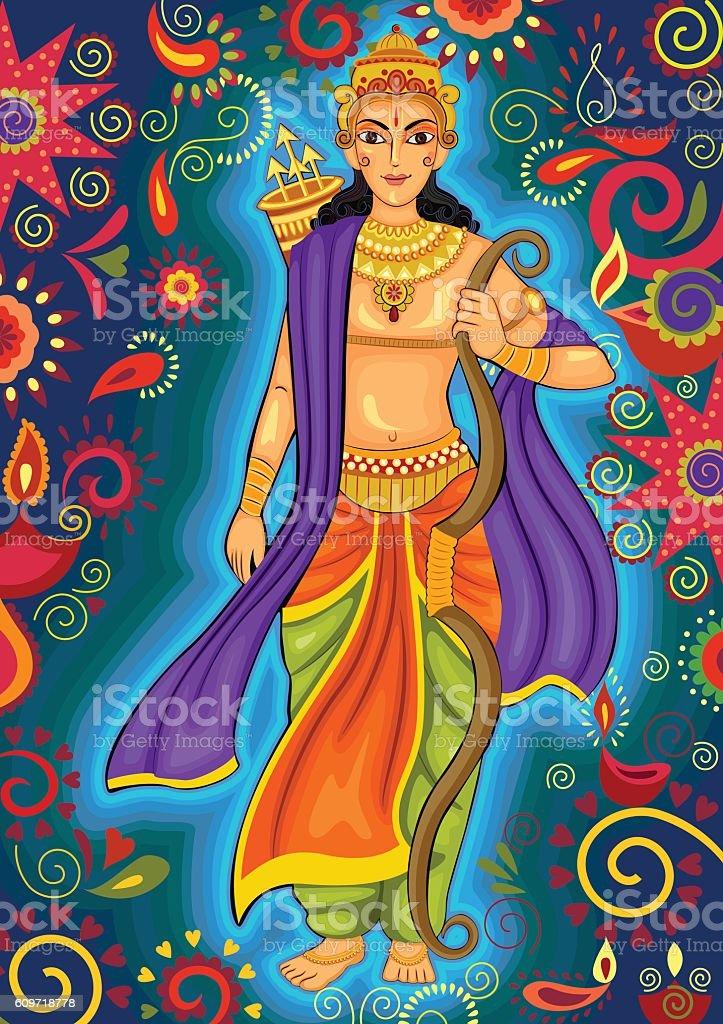 Indian God Rama for Dussehra festival celebration in India vector art illustration