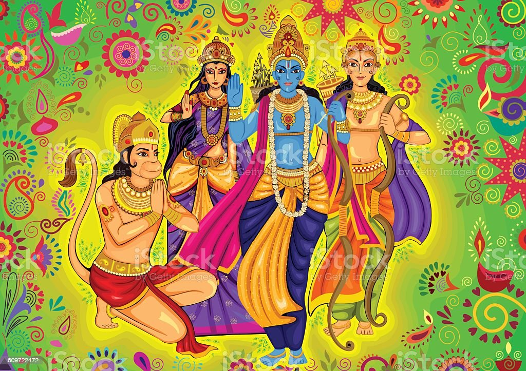 Indian God Rama with Laxman and Sita for Dussehra festival vector art illustration