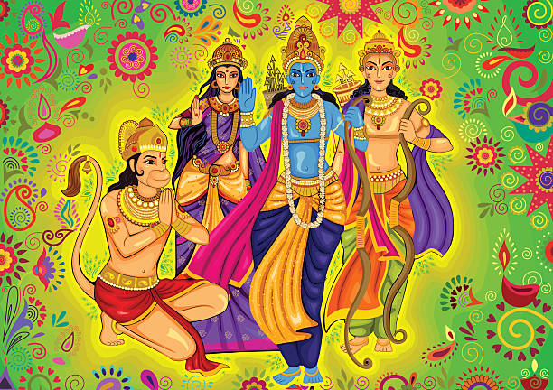 Indian God Rama with Laxman and Sita for Dussehra festival Vector design of Indian God Rama with Laxman and Sita for Dussehra festival celebration in India langur stock illustrations