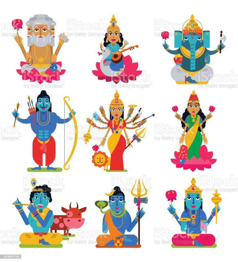 Indian god vector hindu godhead of goddess character and hinduism godlike idol Ganesha in India illustration set of asian godly religion isolated on white background vector art illustration