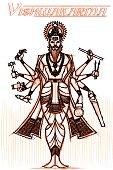 Indian God Vishwakarma in sketchy look