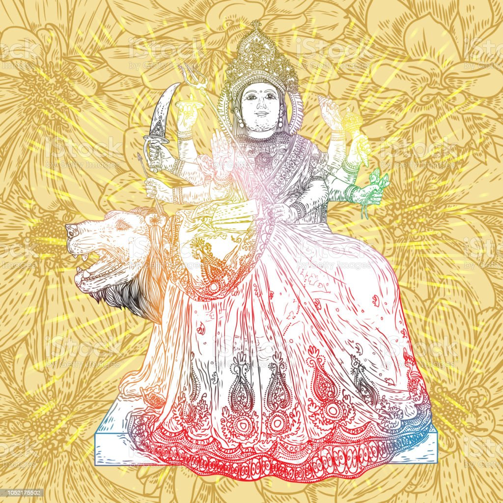Indische Göttin Durga Klassische Skulptur Für Durga Puja Urlaub