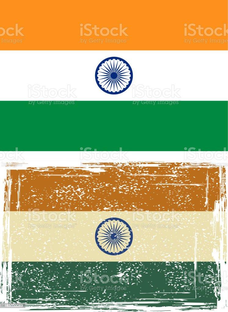 Indian grunge flag vector art illustration