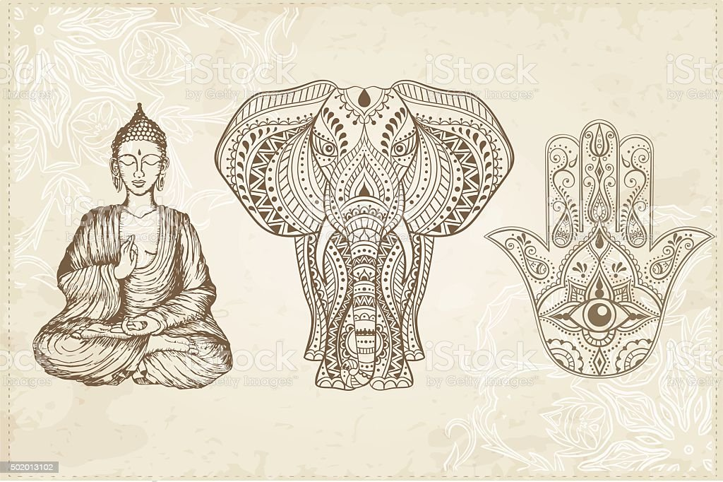 Indian Hand Drawn Hamsa with All Seeing Eye