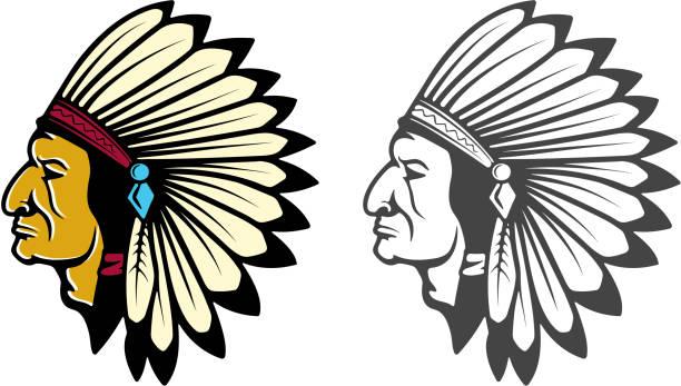 indian head concept. - kopfschmuck stock-grafiken, -clipart, -cartoons und -symbole