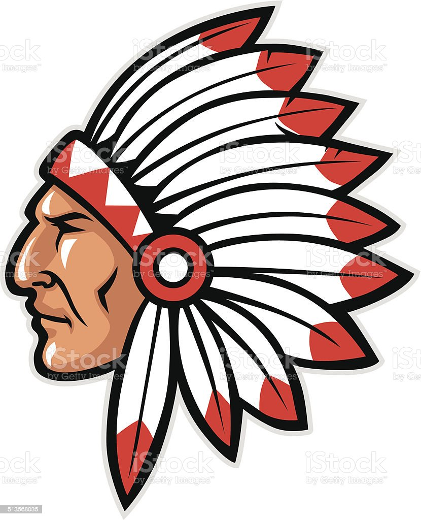 indian head mascot vector art illustration
