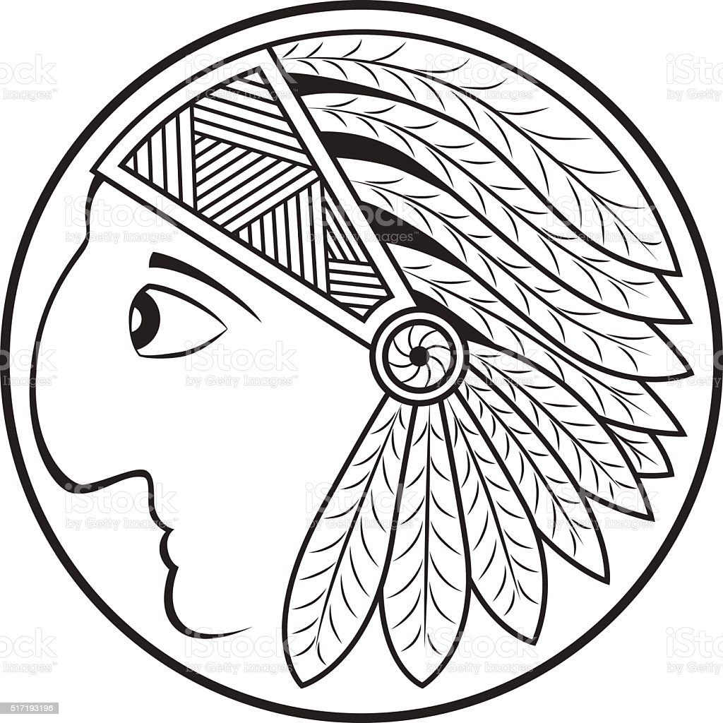 Indian Head. Profile. The traditional headdress of feathers. vector art illustration