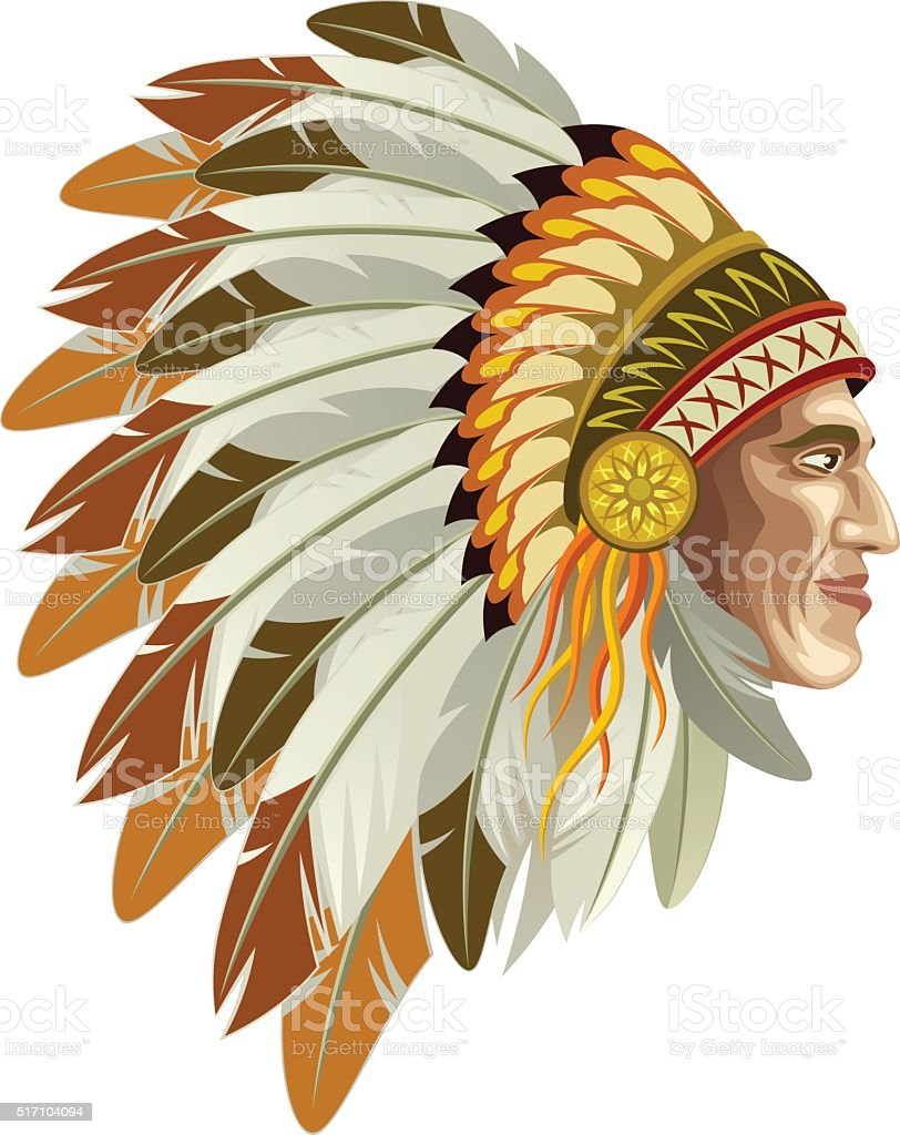 Indian head vector art illustration