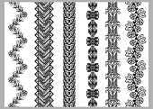 Indian Henna Border decoration elements patterns in black and white colors.  Lace borders, vertical vector seamless lace patterns, geometric borders, flower pattern, vector illustration.