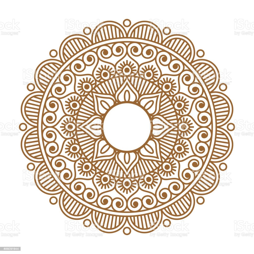 Indian henna mehendi ornament vector art illustration