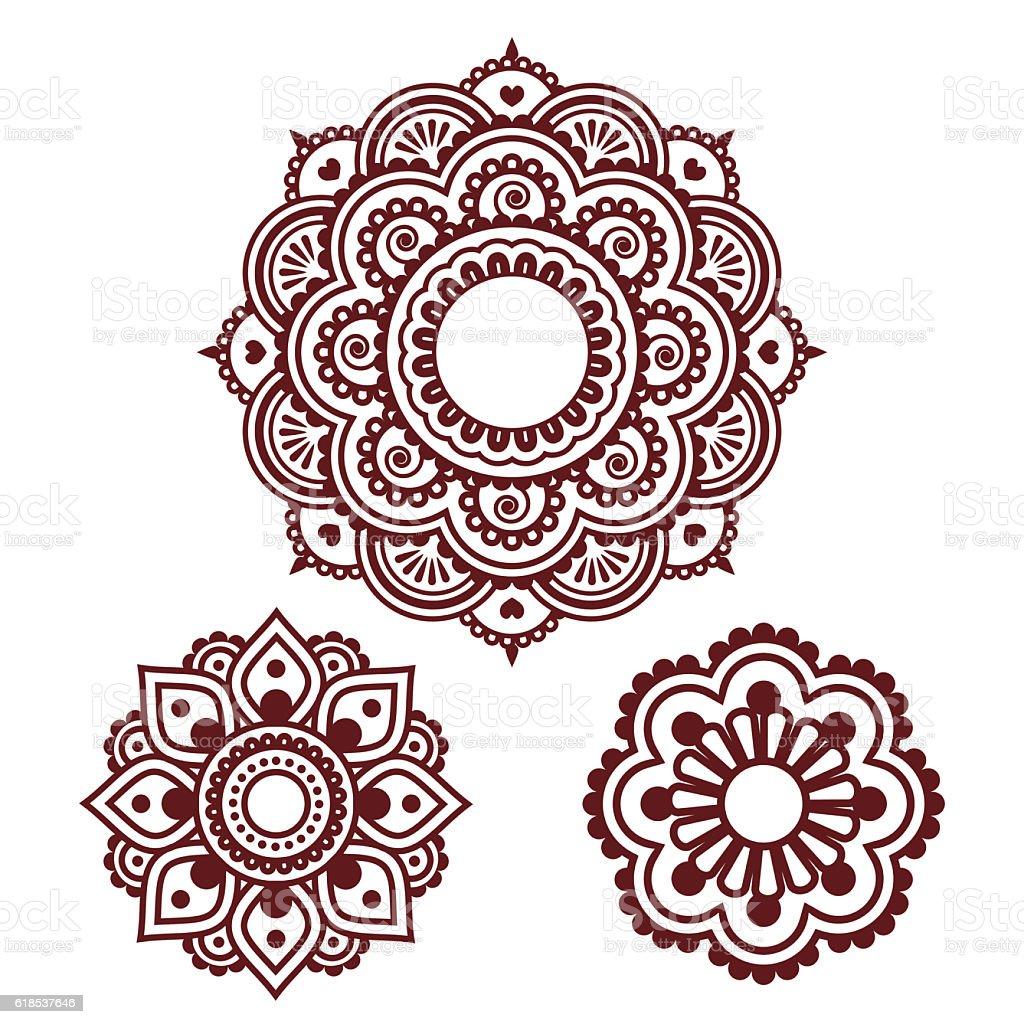 indian henna tattoo round design mehndi pattern in brown stock rh istockphoto com Henna Tattoo Henna Flower Vector