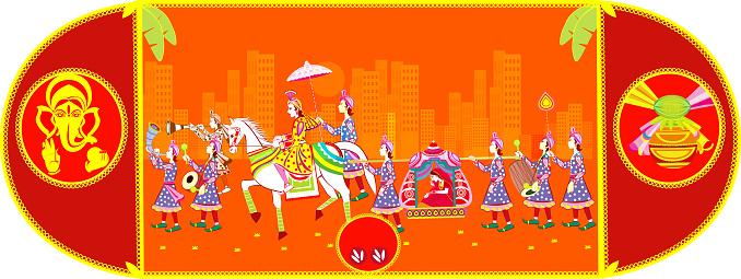 Indian  Hindu Wedding Invitation  Card,