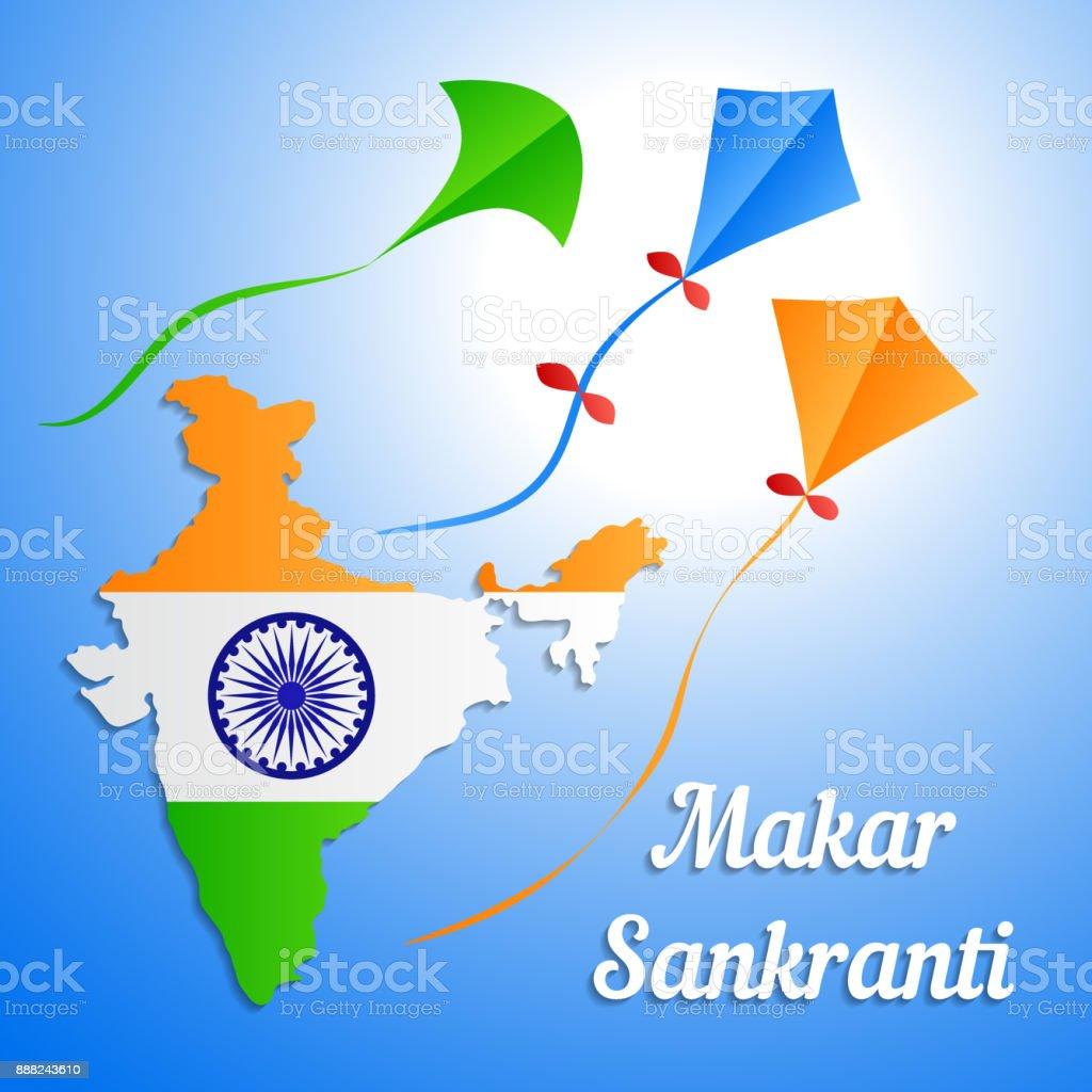 Indian holiday makar sankranti banner or greeting card flag of india indian holiday makar sankranti banner or greeting card flag of india in the form of m4hsunfo