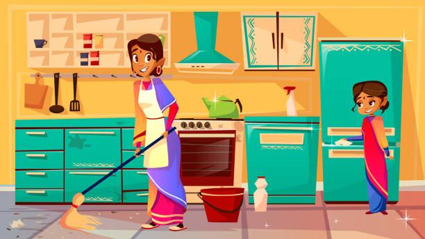 bildbanksillustrationer, clip art samt tecknat material och ikoner med indiska hemmafru rengöring kök vektor illustration - sparkle teen girl
