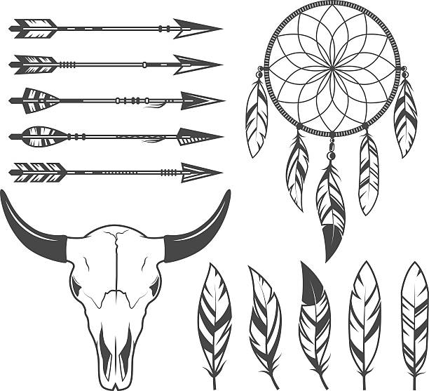 Indian, hunter, tribal objects, vector set Indian, hunter, tribal objects, vector set dreamcatcher stock illustrations